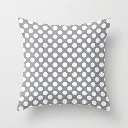 White Polka Dots with Grey Background Throw Pillow