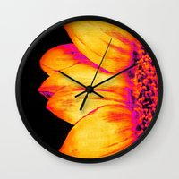 sunflower Wall Clocks featuring Sunflower Pink Yellow by PureVintageLove