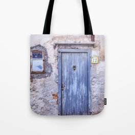 Old Blue Italian Door Tote Bag
