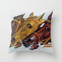 Horse head portraits Throw Pillow
