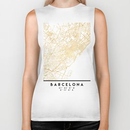 BARCELONA SPAIN CITY STREET MAP ART Biker Tank