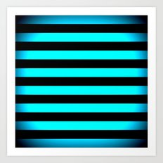 Stripes Aqua Blue & Black Art Print