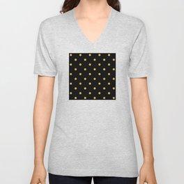 Gold Glitter Large Dot Pattern Unisex V-Neck
