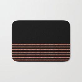Black and Copper Stripes Bath Mat
