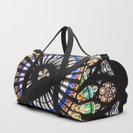Stained glass cathedral rosette Duffle Bag