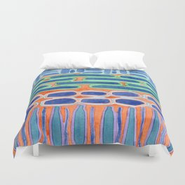 Blue Shapes Pattern Duvet Cover