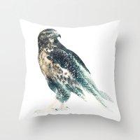 falcon Throw Pillows featuring Falcon by RIZA PEKER