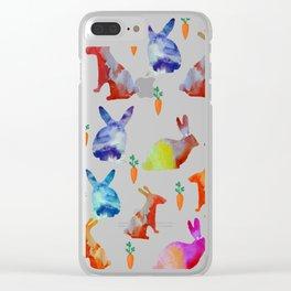 Rabbits Joy Clear iPhone Case