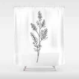 Botanical floral illustration line drawing - Mae Shower Curtain