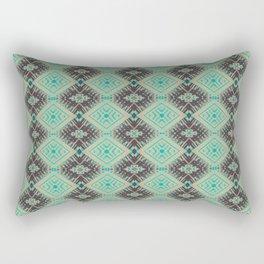 Subway Tracks Kaleidoscope Geometric Pattern - Mint Chocolate Colors Rectangular Pillow