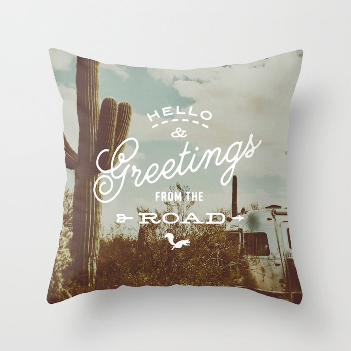 Greetings From The Road (cactus) Throw Pillow