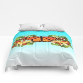 Monarch Butterfly with Strawberries on Aqua Comforters