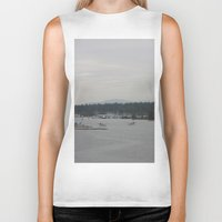 vancouver Biker Tanks featuring Vancouver Harbour by RMK Creative