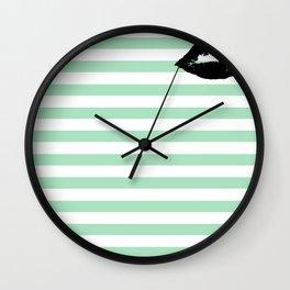 Pastel Goth - Mint Stripes and Lips 2 Wall Clock