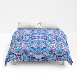 Turquoise Blue Flower Girly  Pattern Comforters