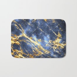 Ornate, Classic Gold and Sapphire Marble Bath Mat