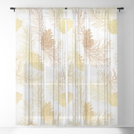 Golden floral pattern with pine cones and branches. Sheer Curtain