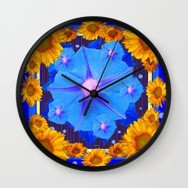 Blue Morning Glory Yellow Sunflowers Floral Pattern Wall Clock