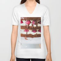 cake V-neck T-shirts featuring Cake by Jovana Rikalo