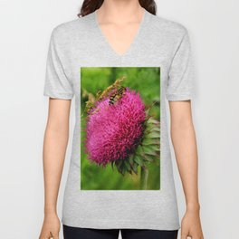The thistle and a fly Unisex V-Neck