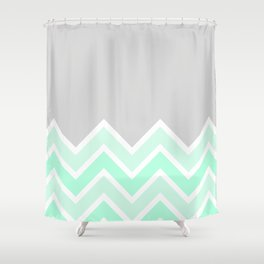 TWO-TONE MINT CHEVRON COLORBLOCK Shower Curtain