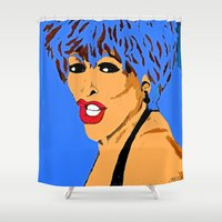 tina crespo Shower Curtains featuring Tina by Saundra Myles