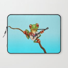 Tree Frog Playing Acoustic Guitar with Flag of South Korea Laptop Sleeve