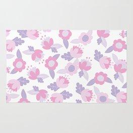 Hand painted pastel pink lavender modern floral Rug