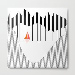 Minimal lake section with sailboat Metal Print