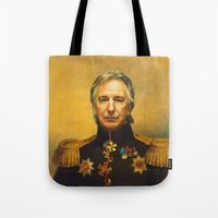 replaceface Tote Bags featuring Alan Rickman - replaceface by replaceface