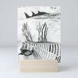 black and white under the sea Mini Art Print