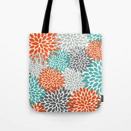 Floral Pattern, Abstract, Orange, Teal and Gray Tote Bag