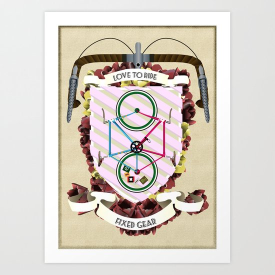 Love to Ride My Fixed Gear Bike Art Print