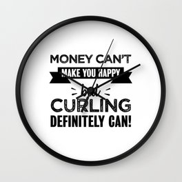 Curling makes you happy Funny Gift Wall Clock