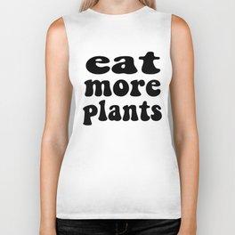 Eat More Plants Black White Vegan Vegetarian Biker Tank