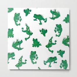 Froggy Frog large deep green Metal Print