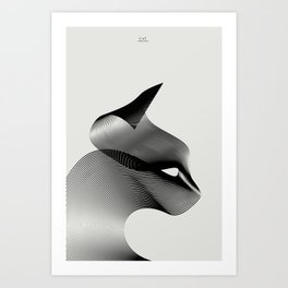 Animals in Moiré   Cat Art Print