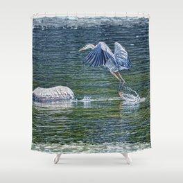 Heron's Leap - Great Blue Heron Shower Curtain