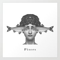 pisces Art Prints featuring Pisces by A.M.