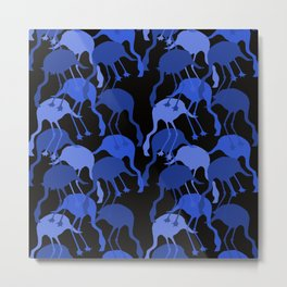 Blue Flamingo Animal Camouflage Pattern Metal Print