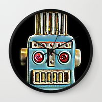 robot Wall Clocks featuring Robot by Silvio Ledbetter