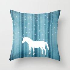 Winter Falls Unicorn Throw Pillow