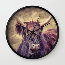Long Horn Highland Cow Wall Clock