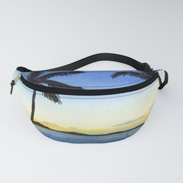 Palm Trees with Sunset by the Ocean Fanny Pack