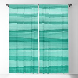 Green Watercolor Lines Pattern Blackout Curtain