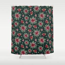 Christmas Poinsettias Green Shower Curtain