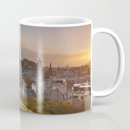 Skyline of Edinburgh, Scotland from Calton Hill at sunset Coffee Mug
