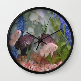 Two Black and Two White Oscars in an Aquarium Wall Clock