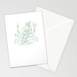 Lord Ganesha Hindu God Green Art Stationery Cards