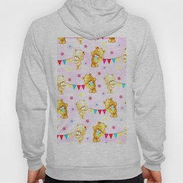 yellow and pink little teddies Hoody
